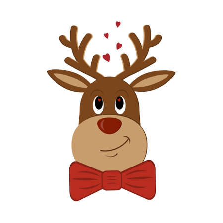 Fancy loving Christmas deer with hearts in eyes and neck red butterfly bow, color isolated vector illustration, clipart, design, decoration, print