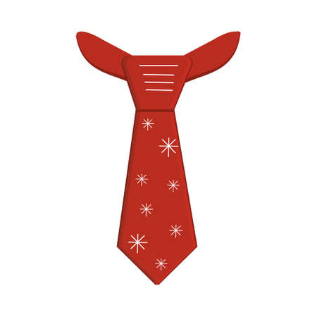 Red carnival men's tie with snowflakes, Christmas costume, color vector isolated illustration on a white background in flat style, icon, clipart, sticker, design, print, decoration  イラスト・ベクター素材