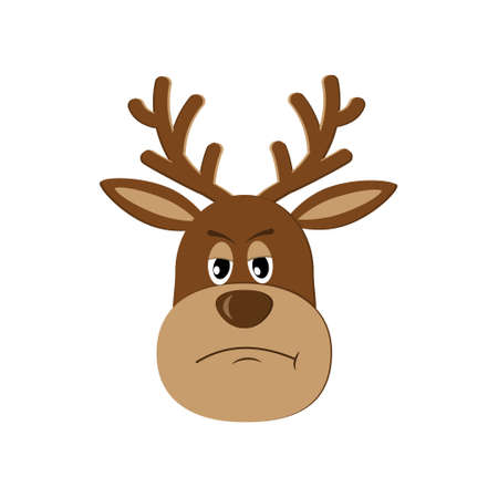 Sad dissatisfied reindeer, isolated color vector illustration on white background, clipart, design, decoration, poster, banner, applique