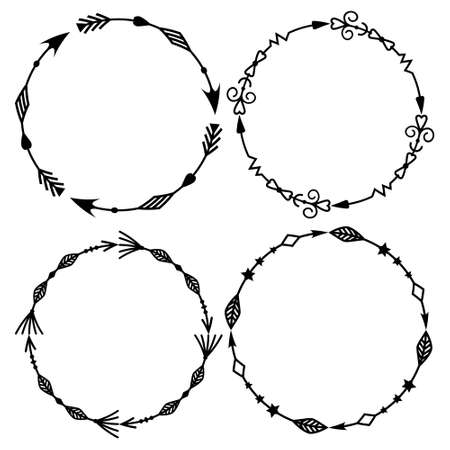 set of four round isolated tribal patterned arrow frames made with a black outline outline, combined into a single outline, vector illustration. Design and decoration of greeting cards, clipart, scrapb