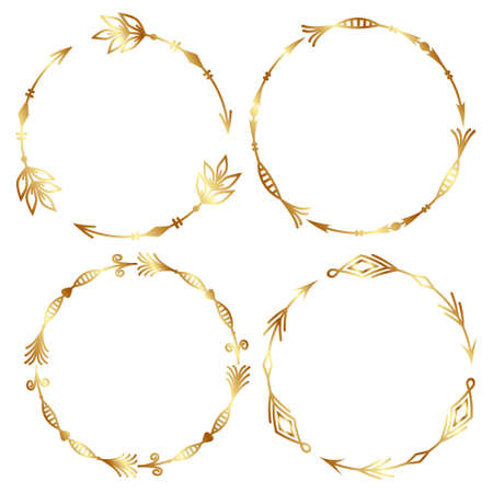 a set of four round isolated tribal patterned arrow frames made with a Golden outline outline, combined into a single outline, vector illustration.