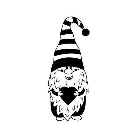 Fairy tale character gnome with heart for Valentine's day, black monolithic stencil, design, decoration, printing, printing