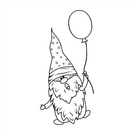 Gnome with balloon coloring book for kids, vector illustration black outline, children's creativity, hobby, hobby, design, print
