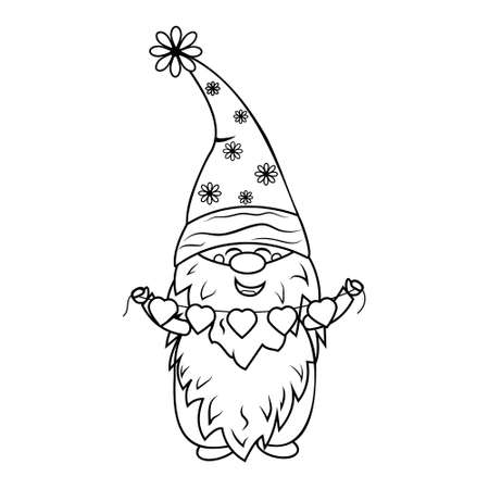 Gnome with garland coloring book for kids, vector illustration black outline, children's creativity, hobby, hobby, design, print