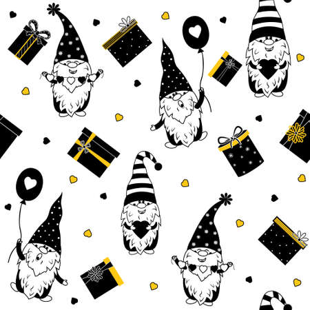 Gnome lovers pattern with gifts and hearts, color vector illustration on white background, color black, yellow, design, decoration, gift wrapping, greeting cards
