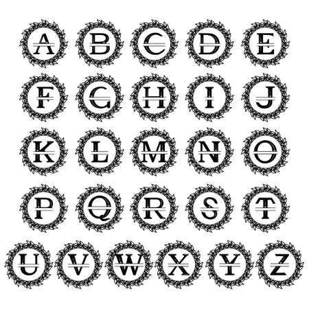 Monogram of the alphabet with a wreath, family monogram, with a cut out pattern in the form of a crown, monochrome vector illustration on a white background, logo, design, decoration, banner, busines
