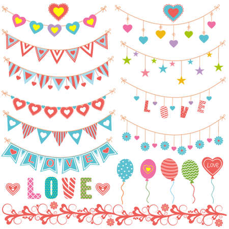 Set of holiday paraphernalia, vintage garlands paper flags and hearts, balloons, for decorating greeting cards and scrapbooking, banner design, banner, lettering