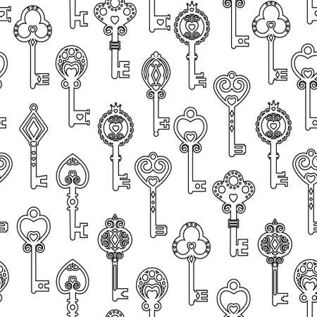 Pattern of vintage keys made by contour, thin line, vector illustration. Illustration