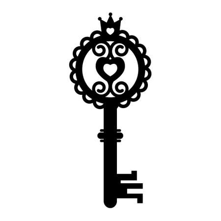 Vintage openwork key template, black stencil, vector illustration, icon, laser cut, decor, design, decoration Illustration