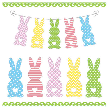Set of Easter bunny templates with different ornaments for crafting a festive garland for Holy Easter, color isolated vector illustration, decor, crafting, decoration