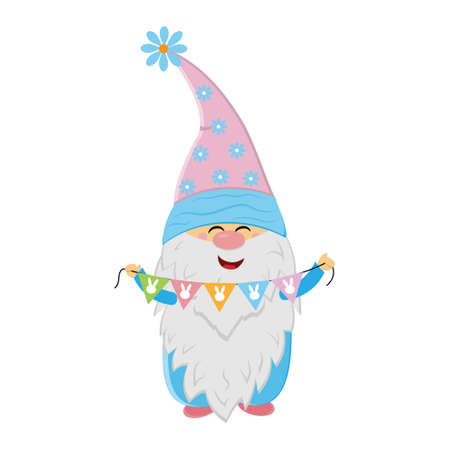 Easter gnome holding holiday garland, cute character, vector illustration