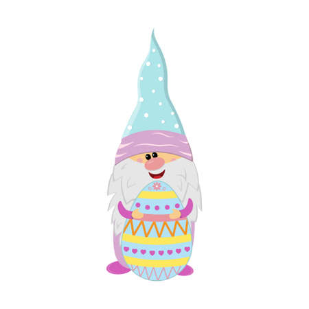 Easter gnome holding egg with ornament, cute character, vector illustration