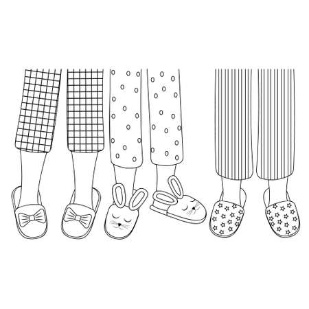 Legs of girls in pajamas and slippers, black outline, isolated vector illustration in the flat style.