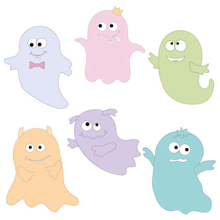 Cute ghost characters, color vector illustration for the Halloween holiday. Vecteurs