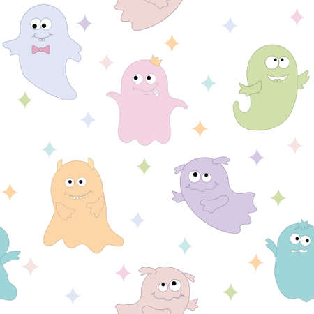 cute ghost characters pattern for Halloween, color vector illustration. Vecteurs