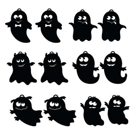 a set of earrings templates for Halloween, vector illustration on a white background.