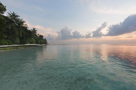 fruta tropical: Tropical sunrise near the island beach at Maldives