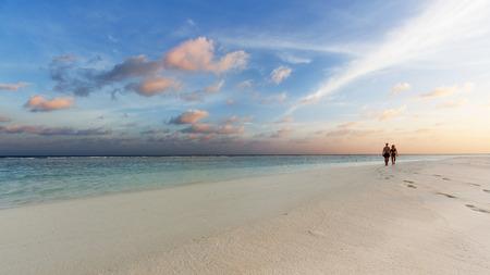 honey moon: Tropical sunset near the island beach at Maldives Stock Photo