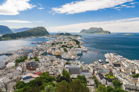 alesund: Sunny view of Alesund from mountain Aksla, Norway