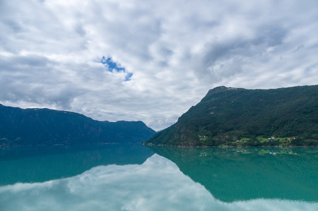luster: The innermost arm of the Sognefjorden is called the Lustrafjord, located in the municipality of Luster. Stock Photo