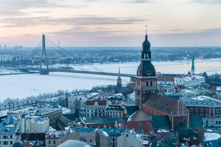 Old and modern Riga winter from viewing platform after sunset, Latvia Stock Photo