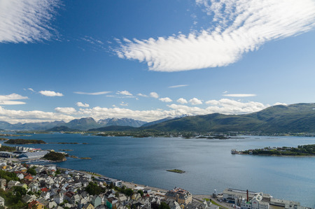 alesund: Sunny Alesund city view from Aksla mountain Norway