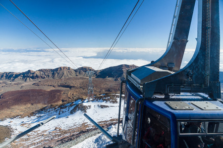 descend: Carcable at peak of volcano Teide is ready for descend