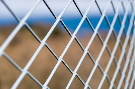 iron fence: Solid metallic mesh fence