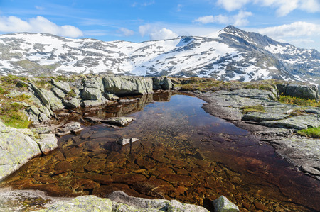 secluded: Secluded small lake on the top of mountains