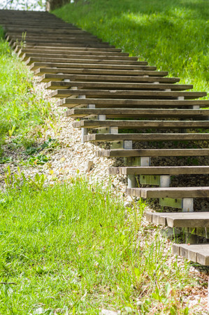 steps and staircases: Wooden plank vanishing stair outdoor in springtime park