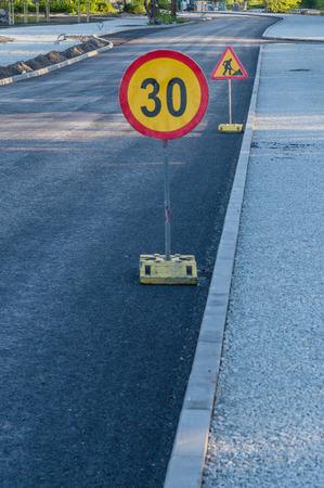 work ahead: Road work ahead signs
