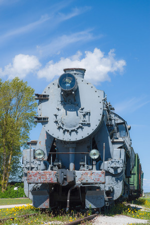 steam locomotive: Old steam locomotive train under blue sky