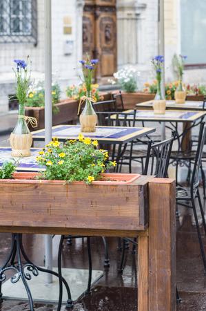 Romantic outdoor restaurant terrace background