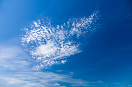 stratus: Blue sky with cirrus and stratus clouds wide view