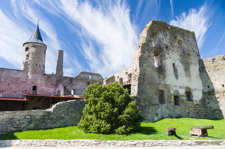 episcopal: Ruins of Haapsalu Episcopal Castle and cannons in front, Estonia Stock Photo