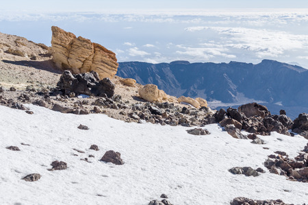 hillside: Snowy hillside of volcano Teide peak, Tenerife, Canary islands, Spain