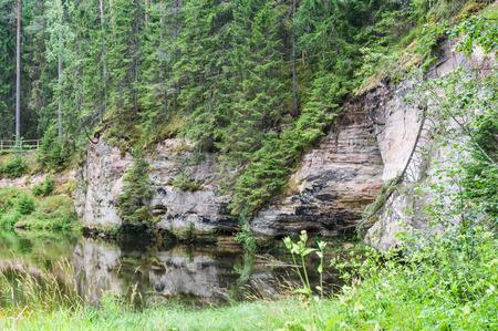 devonian: Outcrops of Taevaskoda on the Ahja river, Estonia