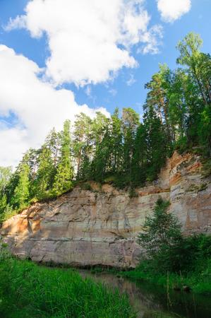 devonian: Sandstone outcrops of Taevaskoda against blue sky, Estonia