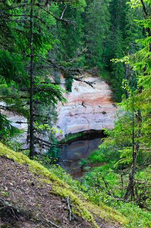 scarp: View on sandstone outcrops from hillside, Estonia Stock Photo