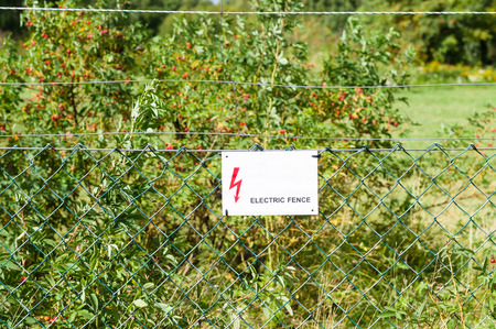 elektrischer Zaun: Electric fence with warning sign to prevent shock