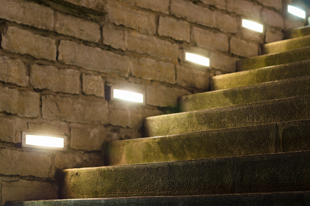 ensuite: Outdoor stairs illuminated with inbuilt modern lights