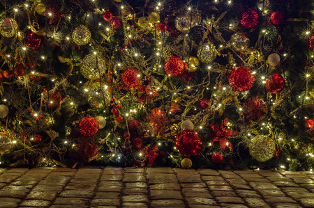 christmas ground: Outdoor Christmas and New year decoration on cobblestone ground