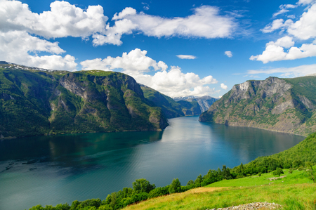 sognefjord: Aurlandsfjord part of Sognefjord against scenic blue sky, Norway Stock Photo