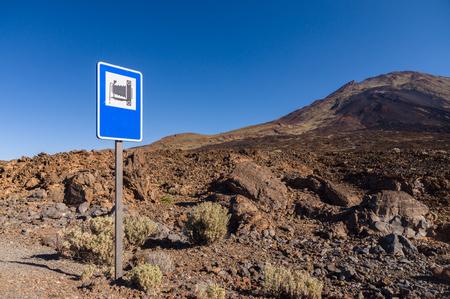 viejo: Landmark road sign near Pico Viejo volcano, Tenerife island, Spain