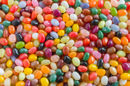 jelly beans: Colorful jelly beans candy background, overlook view
