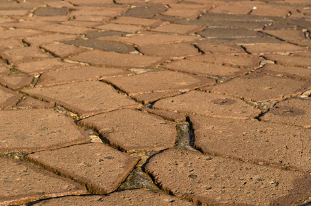 sideview: Decorative pavement closeup, side-view with selective focus Stock Photo