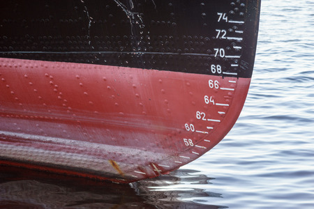 depth measurement: Water level measurement on a old ferry boat