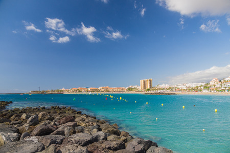 las vistas: Bay of Las Vistas beach in Los Christianos town, Tenerife, Canary islands, Spain Stock Photo