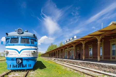 inoperative: HAAPSALU, ESTONIA - MAY 24: Retro locomotive train and unoperative station in Railway and Communications Museum. Editorial