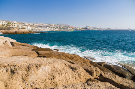 adeje: Scenic volcanic coast and perspective shoreline of Costa Adeje resort, Tenerife, Canary islands, Spain Stock Photo